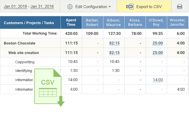 Export time and billing reports