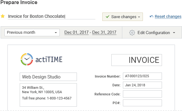 Built-in invoicing tool