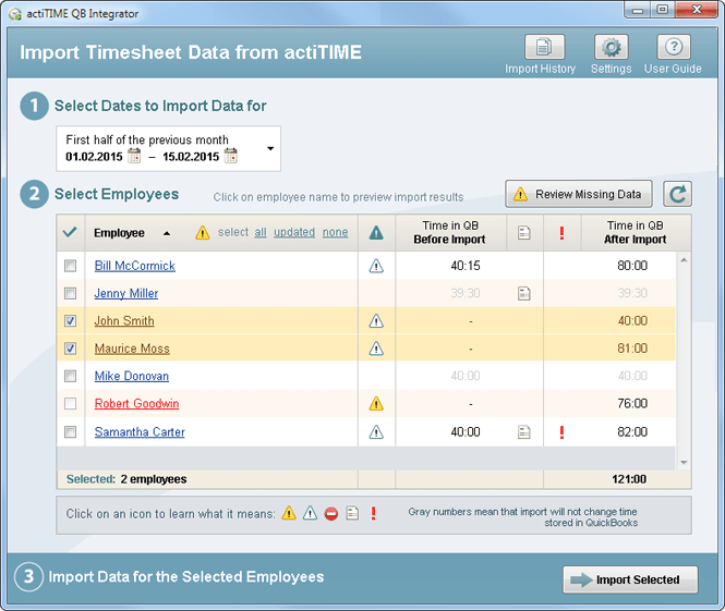 Import timesheet data from actiTIME