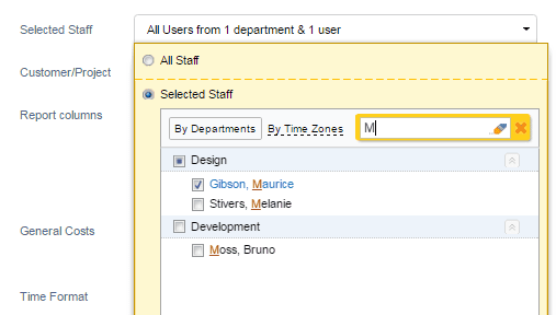 Searching users by name in the user selector