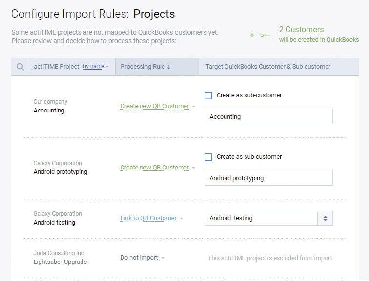 Configure import rules projects