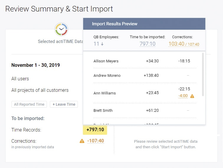 Preview a detailed summary of your imported time records