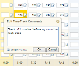 Edit time-track comments