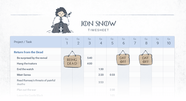 Game of Thrones timesheet