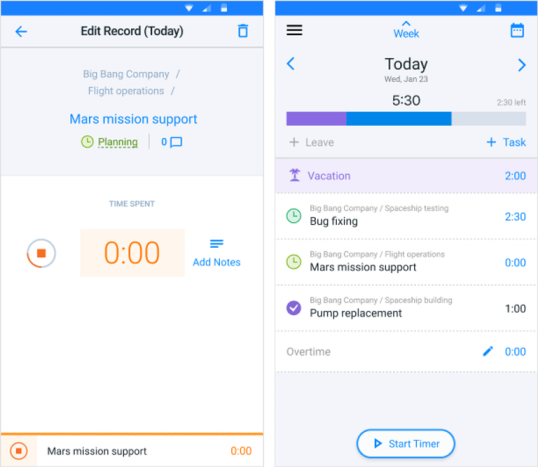 Mobile time tracker for field workers