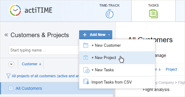 Creating a new project in time tracker actiTIME. Step 1.