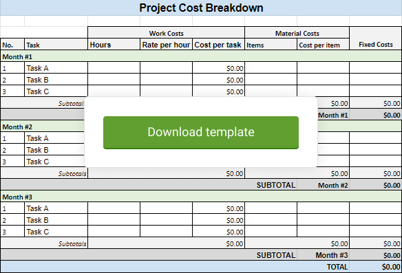 Download project cost template