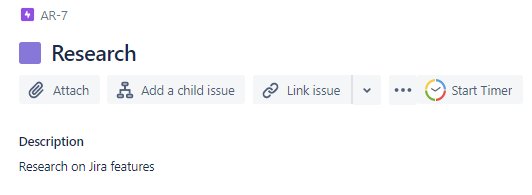Task in the Issues interface, Jira