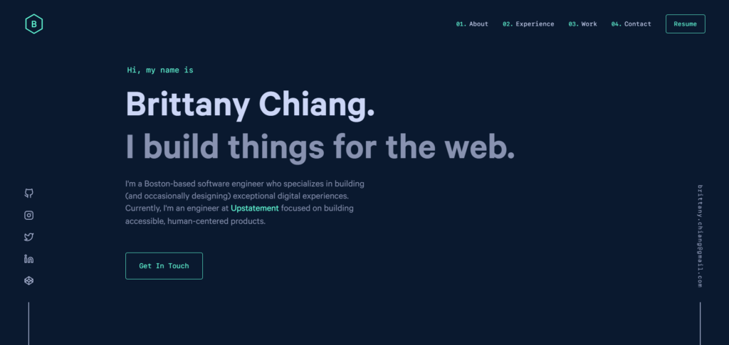 Brittany Chiang's developer portfolio