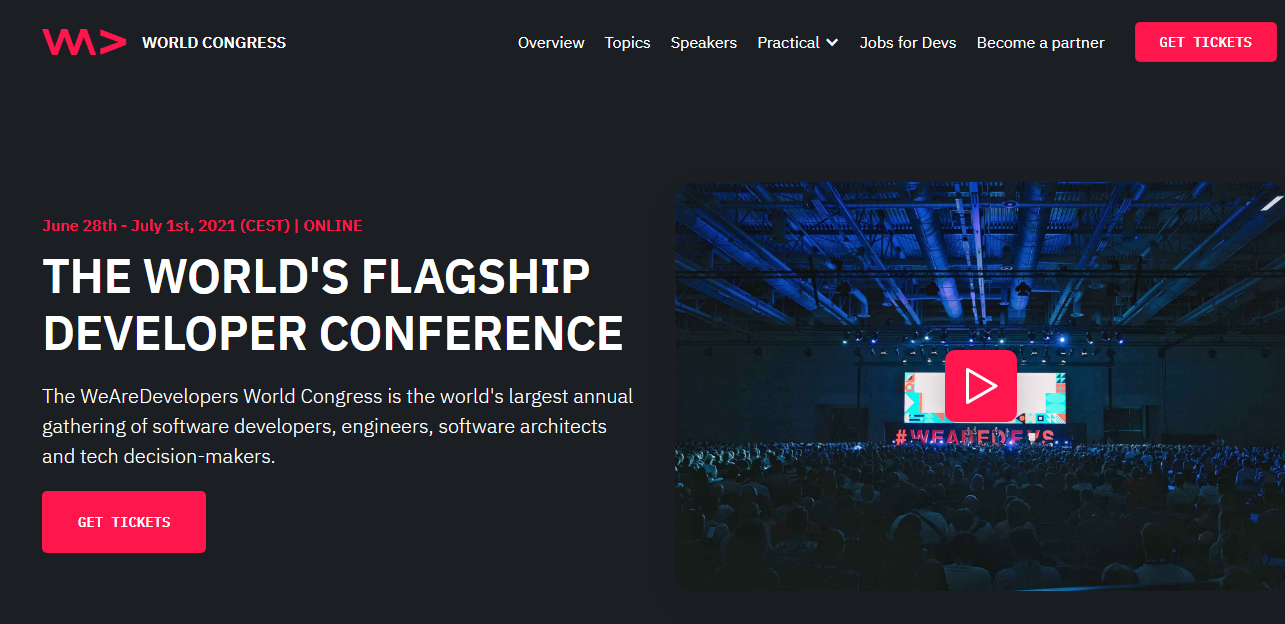 WeAreDevelopers World Congress 2021 Developer Conference